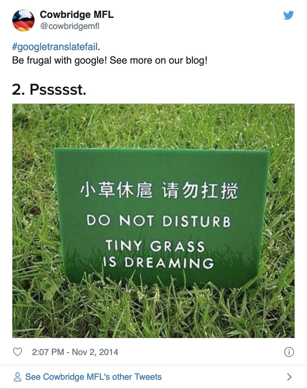 Google Translate fail example